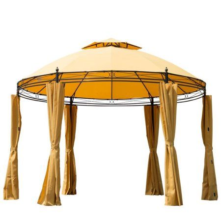 Outsunny Diameter Round Patio Garden Metal Framed Gazebo Marquee Party Tent Canopy Shelter Pavilion with Sidewalls Orange  sc 1 st  Pinterest & Outsunny 11u0027 Round Outdoor Patio Canopy Party Gazebo w/ Curtains ...