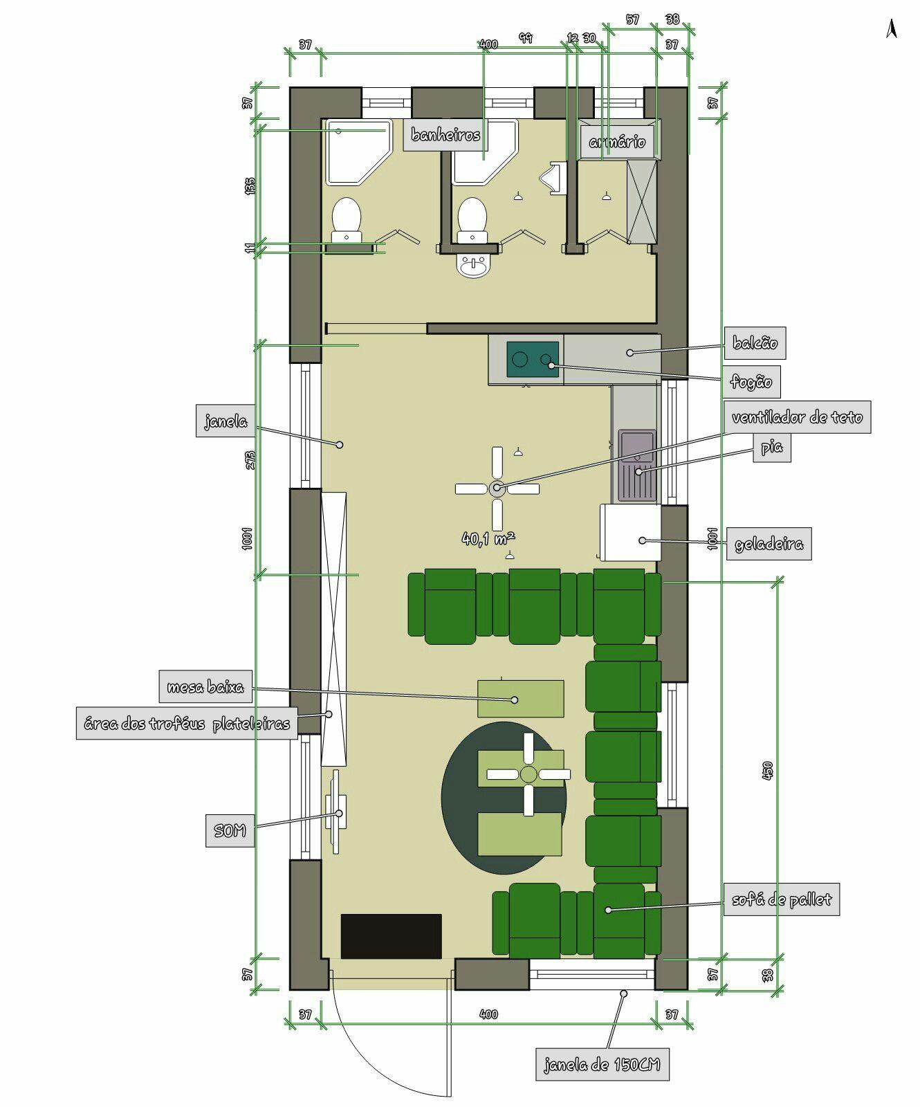 Terreno com 40 m2. 4x10. O projeto é para uma área ...