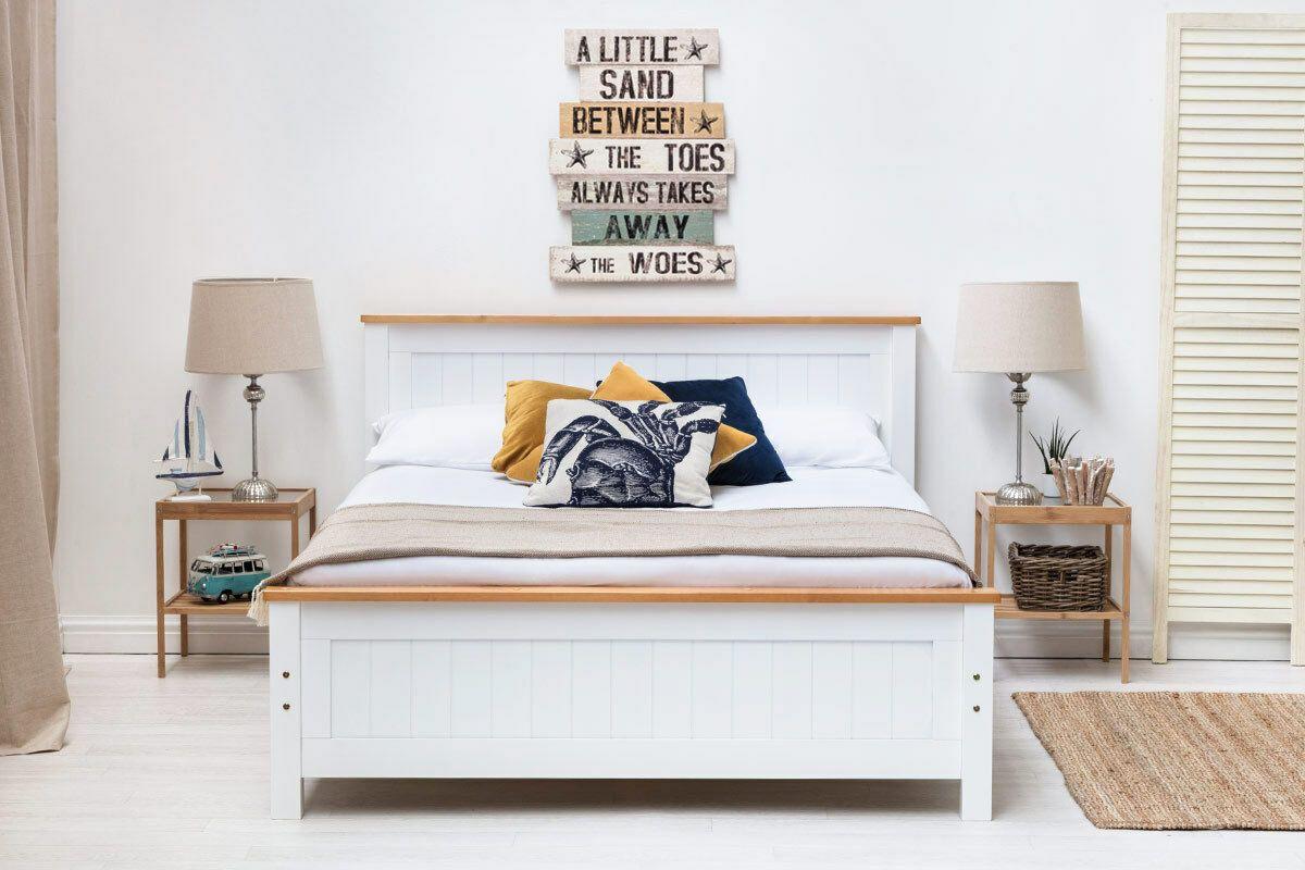 Details About Modern Wooden Bed Frame Oak Trim Single Double King