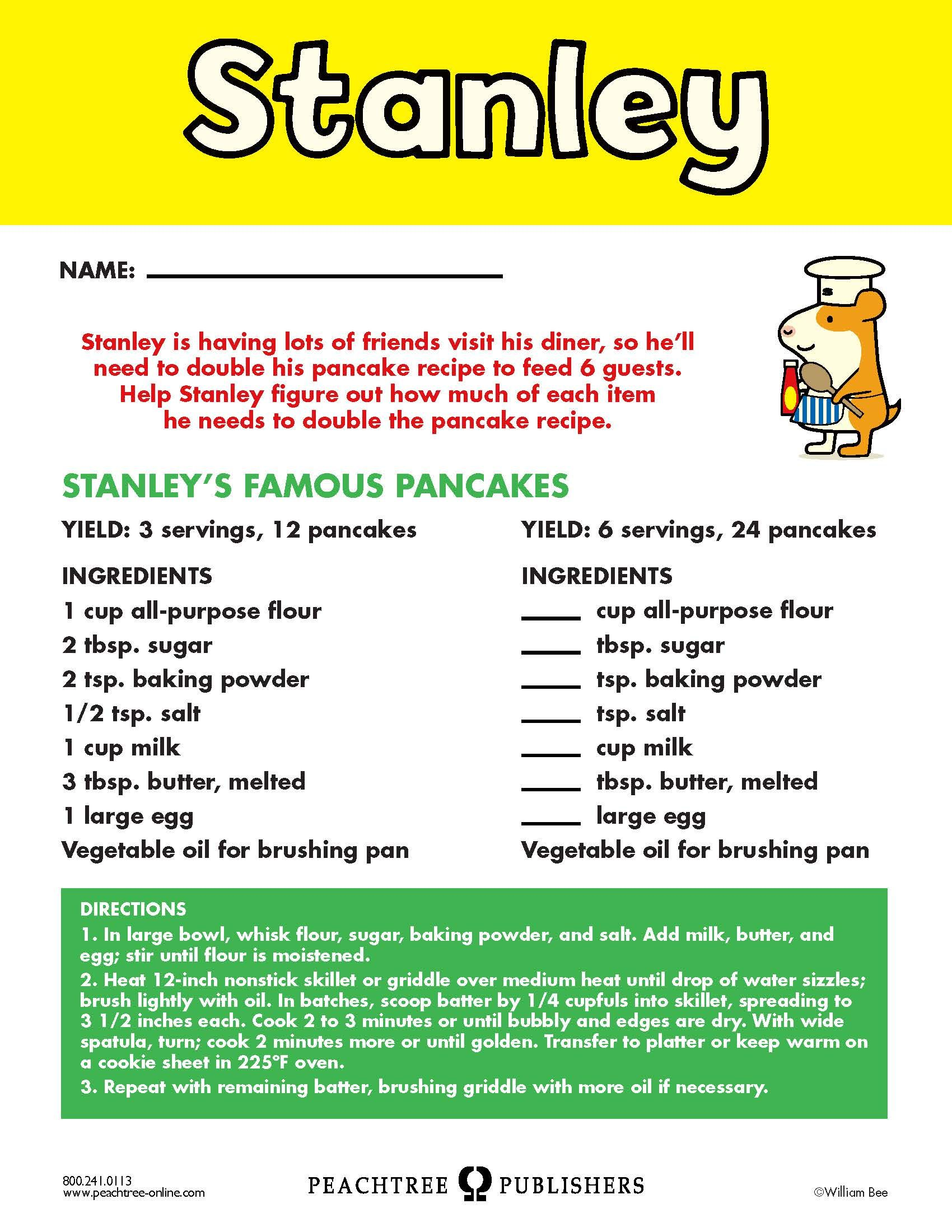 Free Educators Resource Activity Kit For Stanley S Diner Recipe Sheet Recipe Sheets Worksheets For Kids Diner Recipes