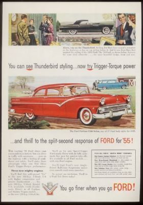 1955 Ford Tunderbird T Bird Fairlane Sedan Car Ad Ebay