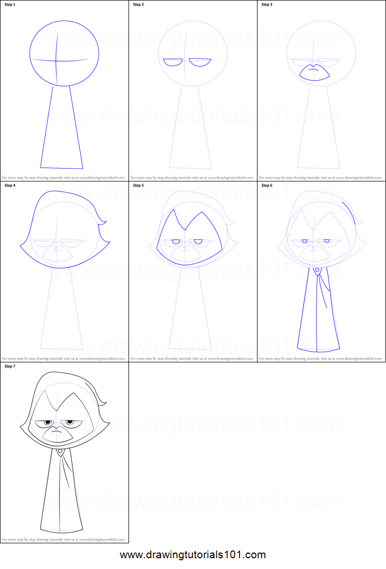 How to Draw Raven from Teen Titans Go printable step by step drawing ...