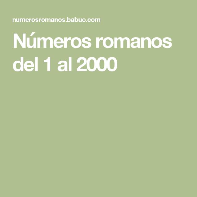 Numeros Romanos Del 1 Al 2000 Para Niños