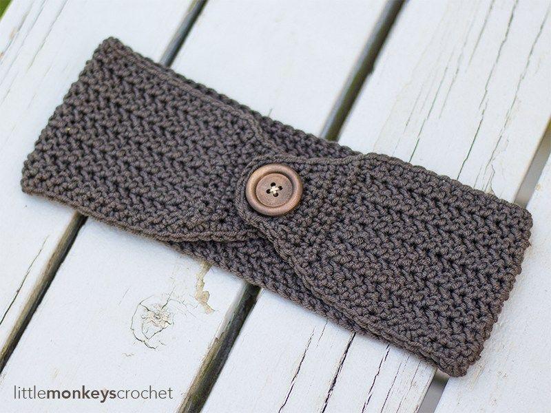 Herringbone Earwarmer Crochet Pattern | Free button ear warmer ...