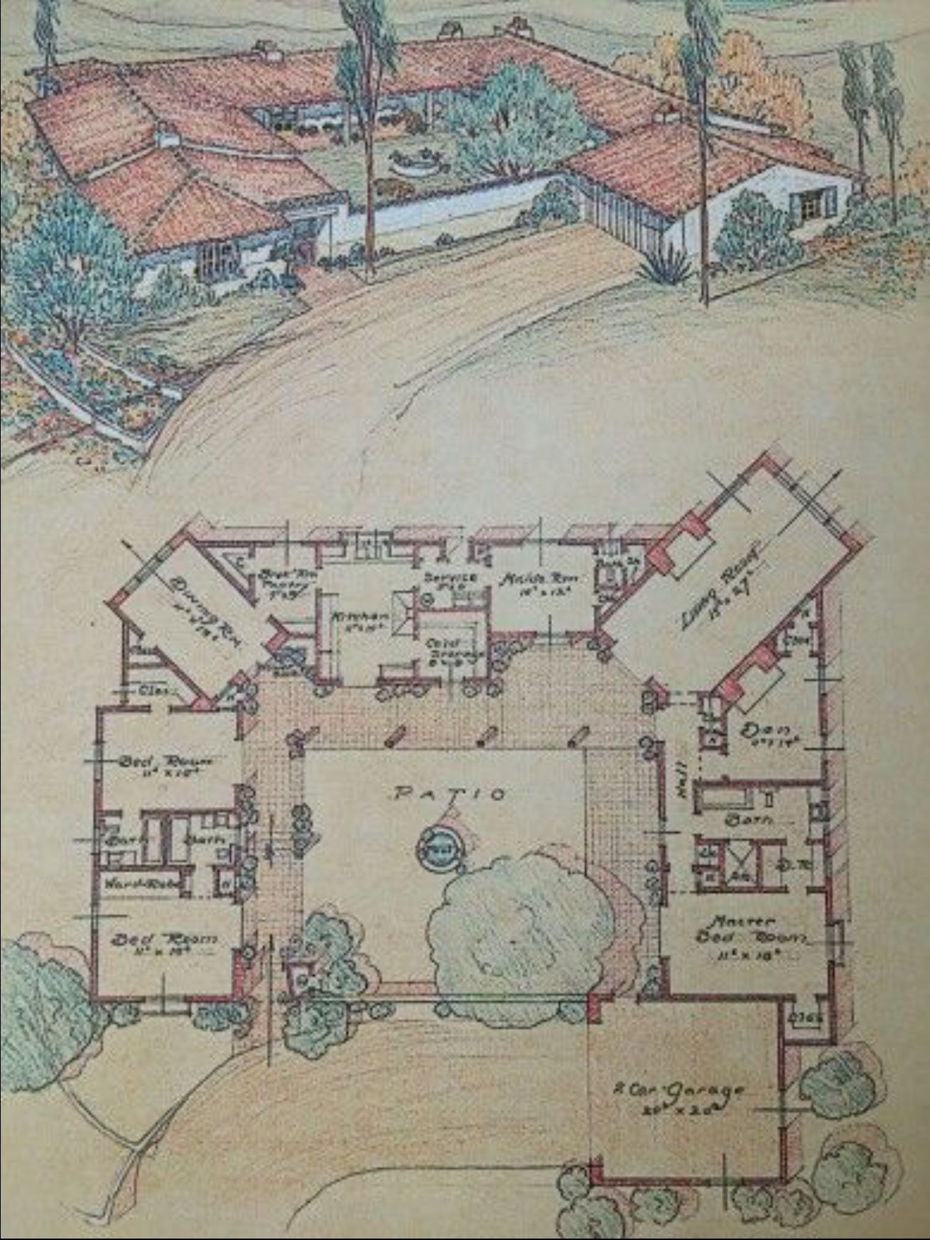 California House Cliff May Courtyard House Plans Spanish Style Homes Vintage House Plans