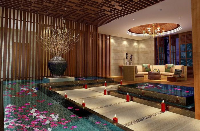 Asian Bathroom Spa With Wood Decoration