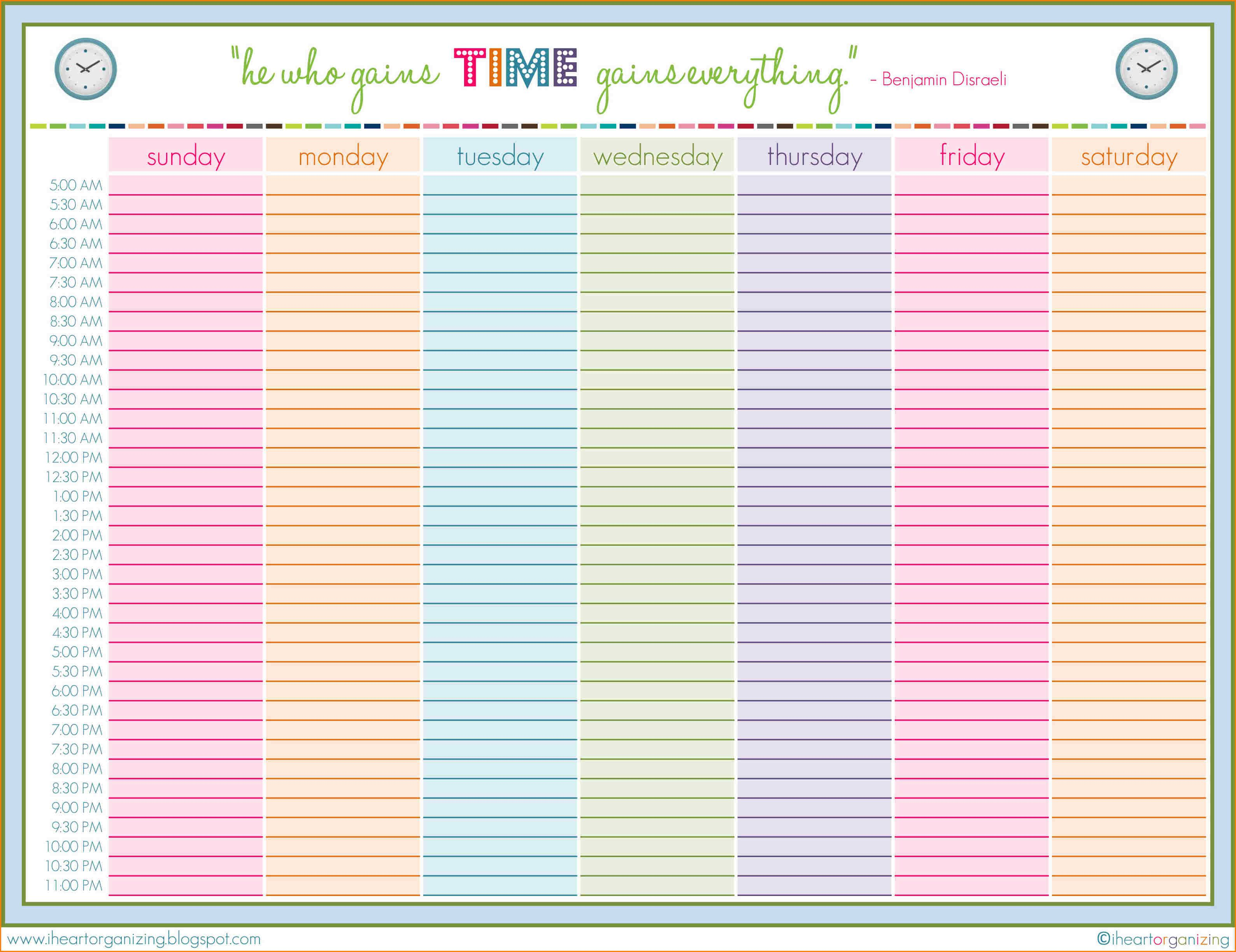 Weekly Planning Template  Rent Roll Template  My Style