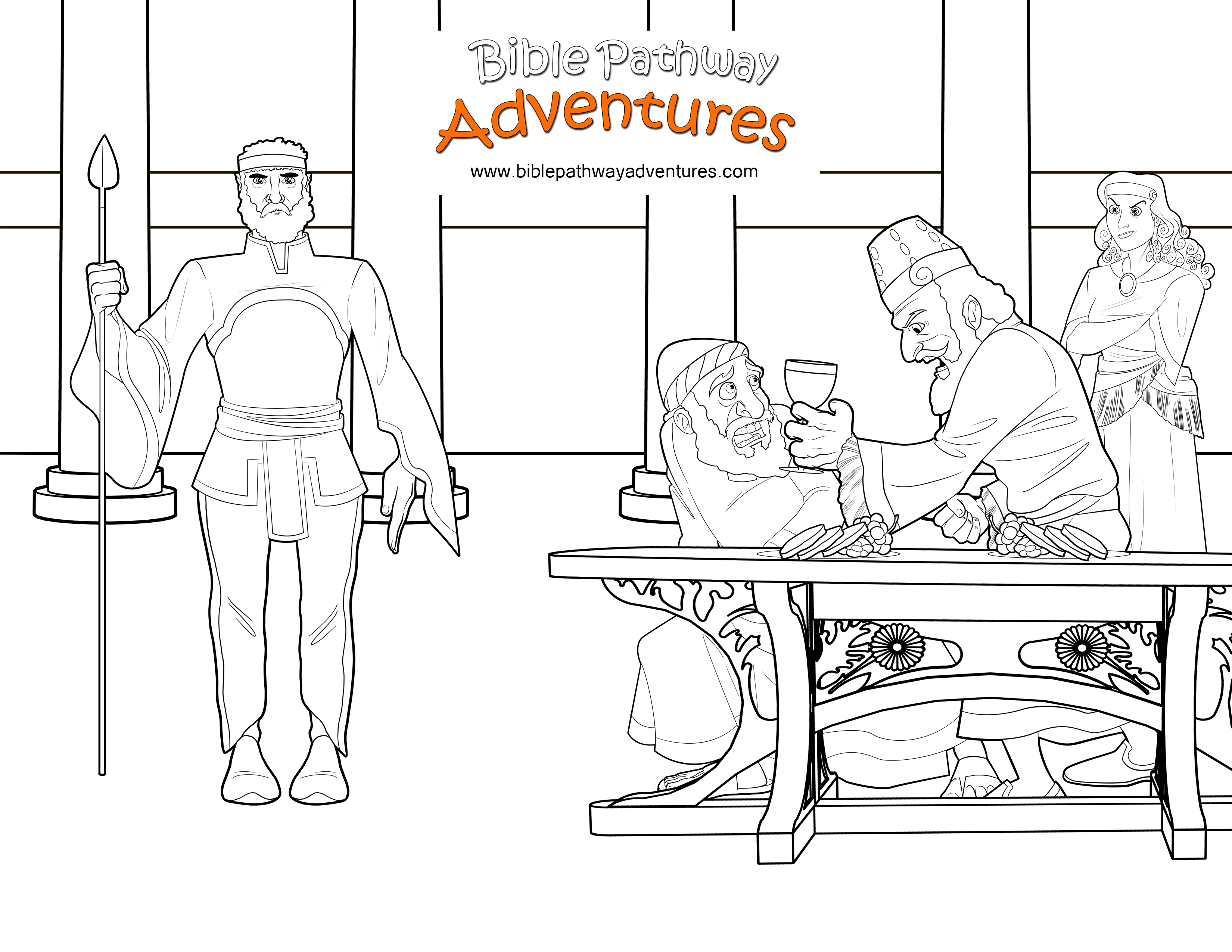 Bible Coloring Page Esther And Haman With The King Of