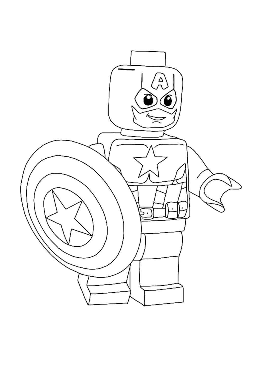 Lego Captain America Coloring Page In 2020 Captain America Coloring Pages Lego Coloring Pages Free Printable Coloring Sheets