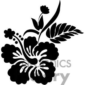 Black And White Hawaiian Hibiscus Flower Clipart Royalty Free Clipart 380150 Hawaiian Flower Drawing Flower Clipart Hawaiian Flowers