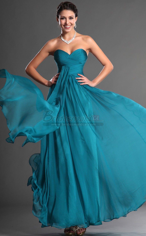 Bridesmaid chiffon sweetheart neck aegean long bridesmaid dress bd