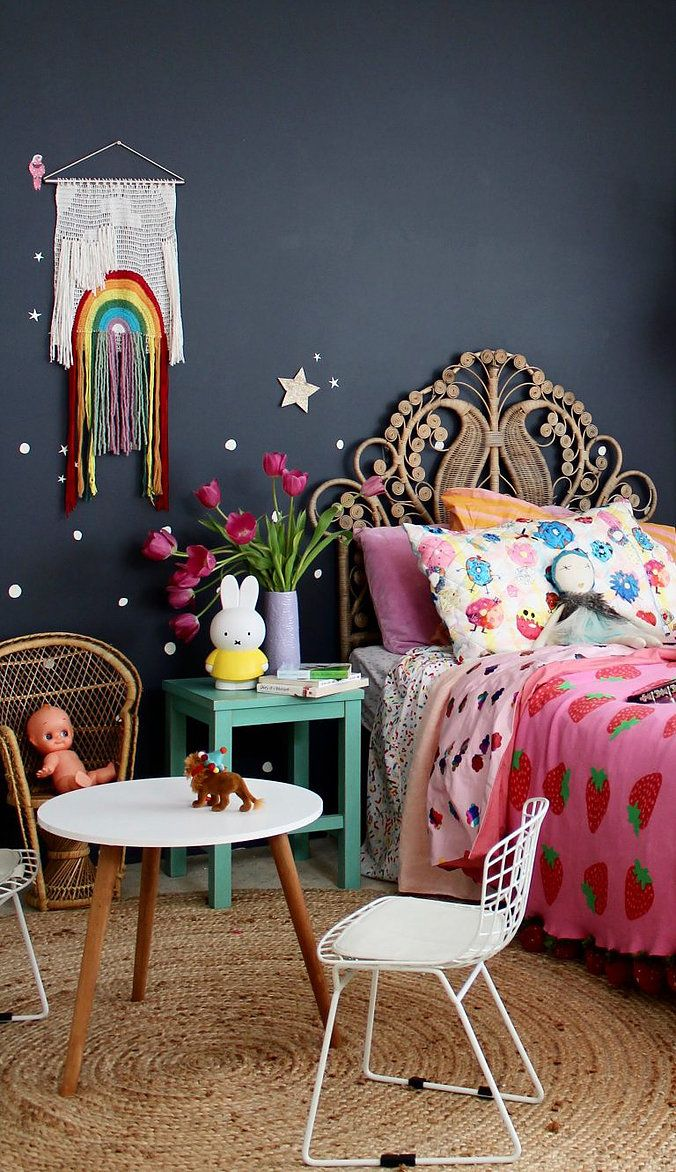Beautiful Kids Rooms   Girls Room In Black Wall And Rattan Bed. INTERIOR  DECOR IDEAS