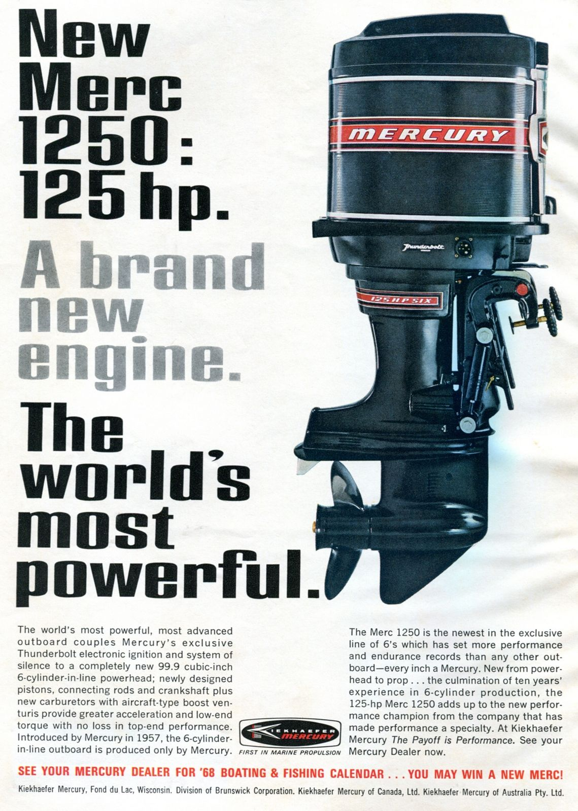 1968 Mercury 1250 Outboard Motor Advertising Outdoor Life January 1968 Mercury Boats Outboard Motors Outboard