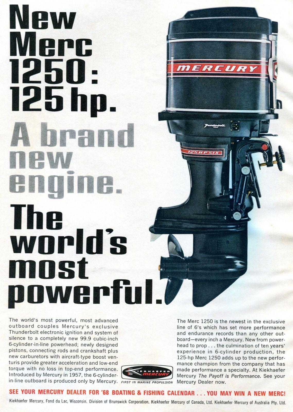 1968 Mercury 1250 Outboard Motor Advertising Outdoor Life January 1968 Mercury Boats Outboard Motors Outboard