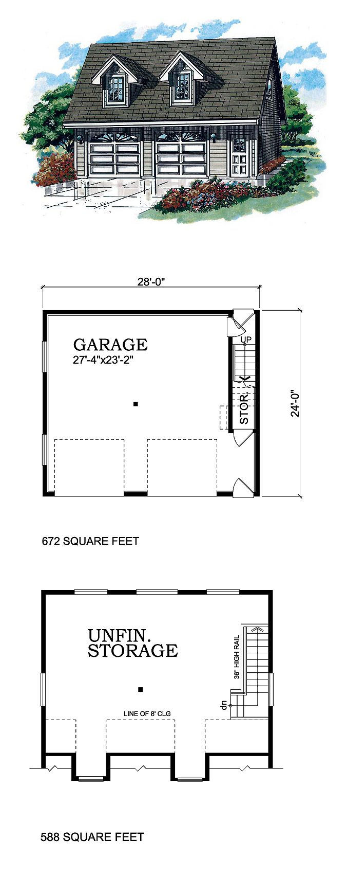 Two Car Garage Plan 55556 Area 672 Sq Ft Bonus 588 28 X24