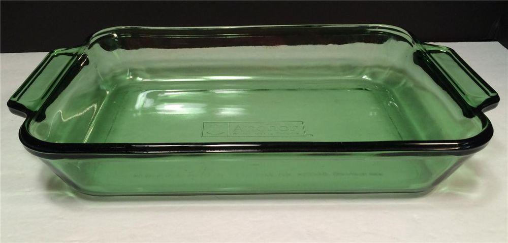 Vintage Anchor Hocking Green Glass 2 Quart 8 X 11 Baking