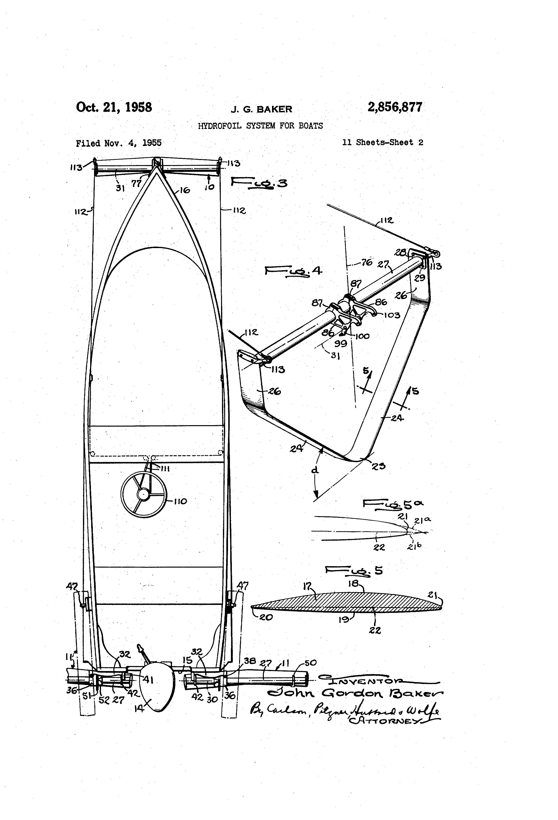 patent us2856877 hydrofoil system for boats google. Black Bedroom Furniture Sets. Home Design Ideas