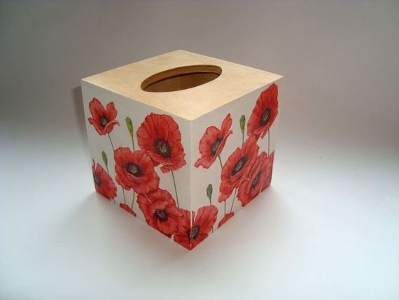 Hollyhocks Tissue Box Cover wooden handmade