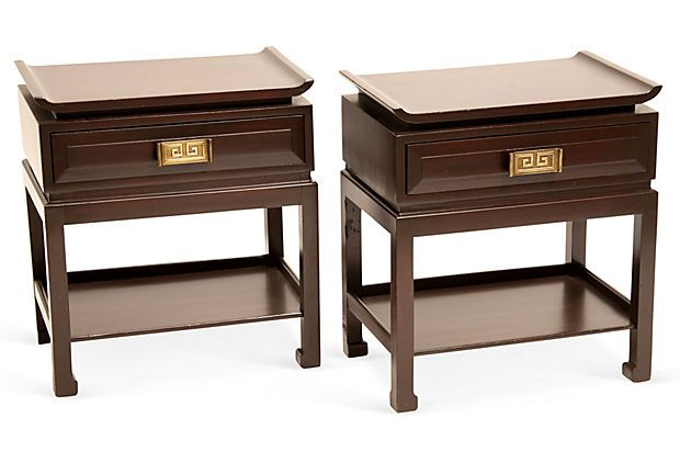 Vintage Asian Style Side Tables Pair Asian Bedroom Decor Asian
