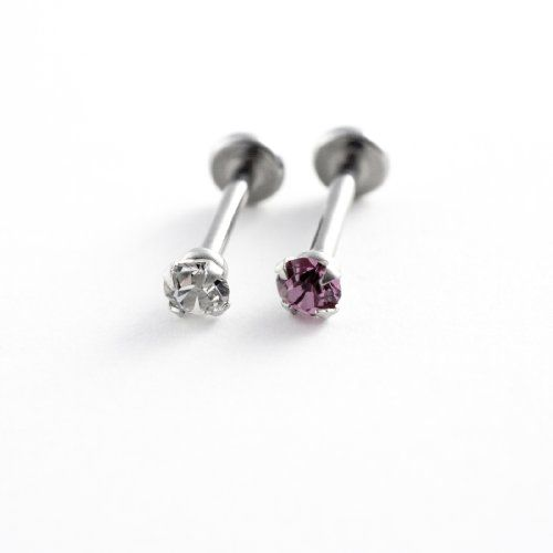 3 Pack-16G Steel Labret/Monroe:2 Jeweled Prong Set Internal Thread-Clear-Pink-1 Retainer-Gift Box http://shorl.com/bustunedrobreja
