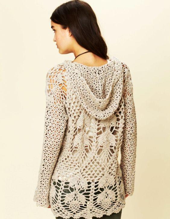 Crochet tunic PATTERN – hoodie by Free People | Pinterest