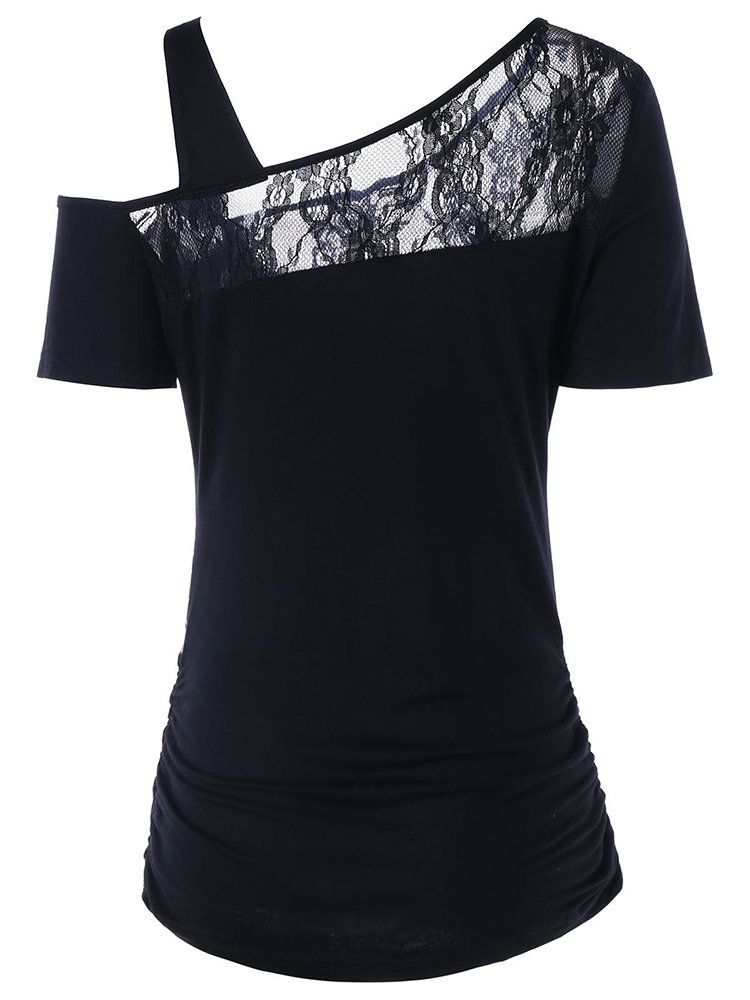 602a37941406 Lace Patchwork Print One Shoulder Sexy T-Shirt
