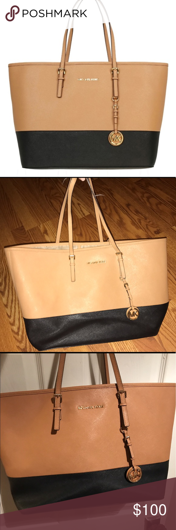 MICHAEL KORS Jet set 2-toned Large tote! **Definitely open for offers*** This bag was given to me and was used for about a month and has not been used since. It is such a useful bag, it can be used for travel, daily use, or even for college students who need to carry their books. The inside has a bit of cosmetic damage, but nothing noticeable from the outside. The outside is in great condition, but again the inside is a bit scuffed up. Michael Kors Bags