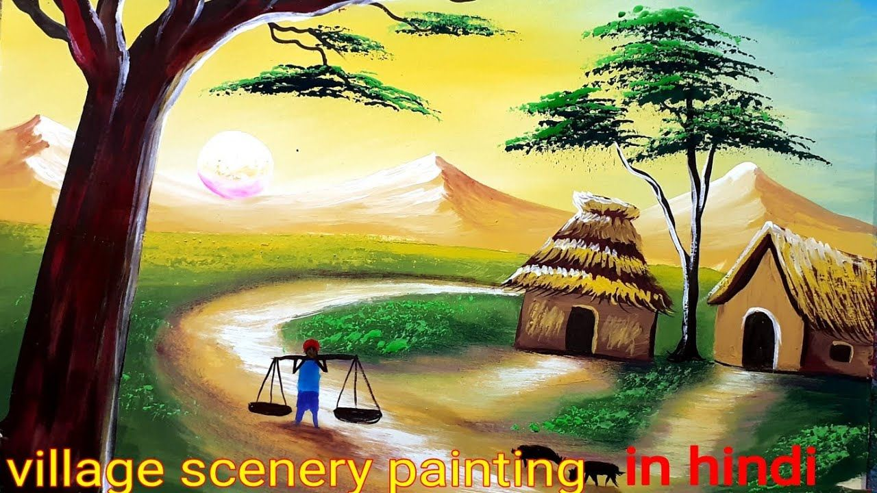 Simple Indian Village Scenery Painting Tutorial Watercolor