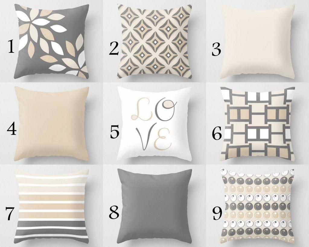 Neutral Pillow Covers Decorative Throw Pillows Home Decor Grey