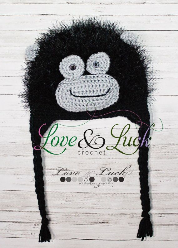 Fuzzy Gorilla Crochet Hat with Ear flaps | Crochet hats | Pinterest ...