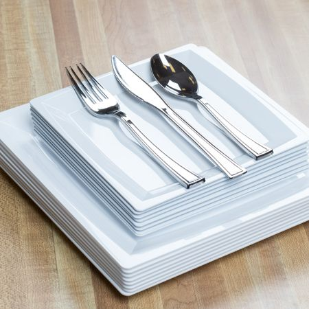 40 pc Square White Plastic Dinnerware Value Set For 8 | Plastic ...