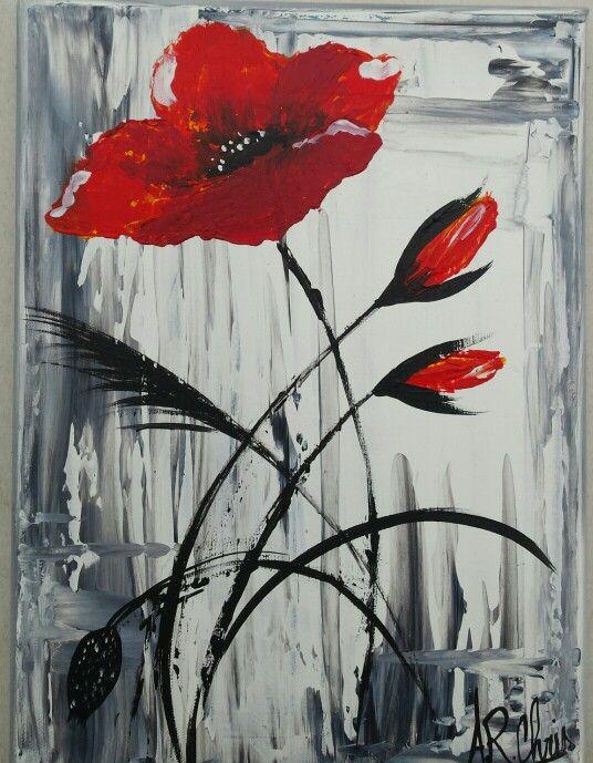 Peinture acrylique sur toile 20x25 | Coquelicots