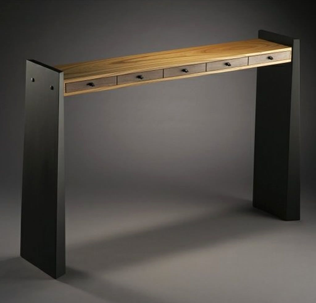 Slim By Brian Hubel A Slim Console Table With Ebonized Ash Legs And A Salvaged Russian Olive Drawer Bunk Drawer Front Are Made From Orchard Salvaged Claro