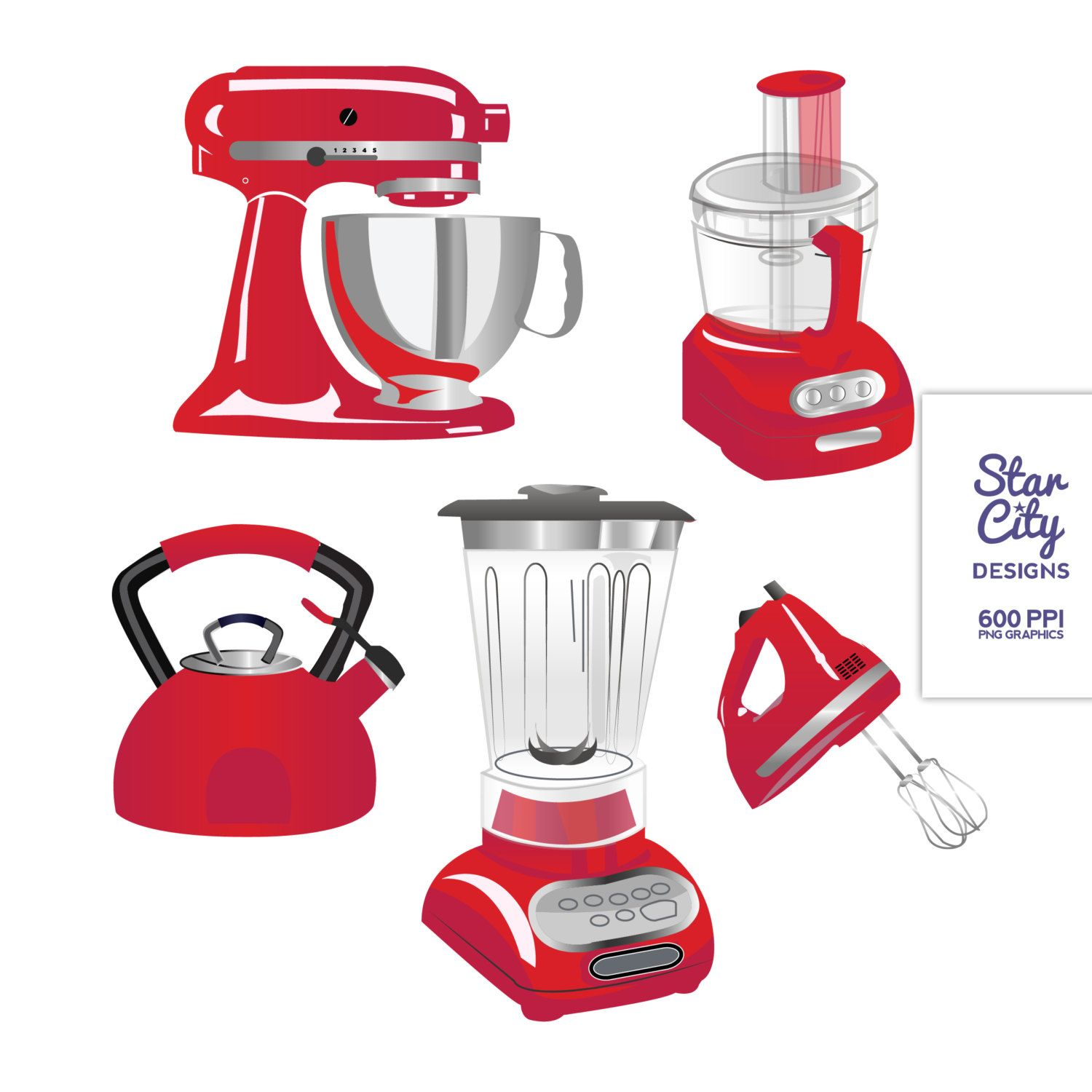 Red Kitchen Appliances Clip Art Clipart Vector By