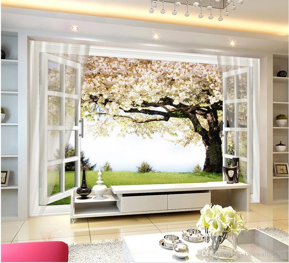 classic home decor sakura tree window 3d background wall mural 3d wallpaper 3d wall papers for. Black Bedroom Furniture Sets. Home Design Ideas