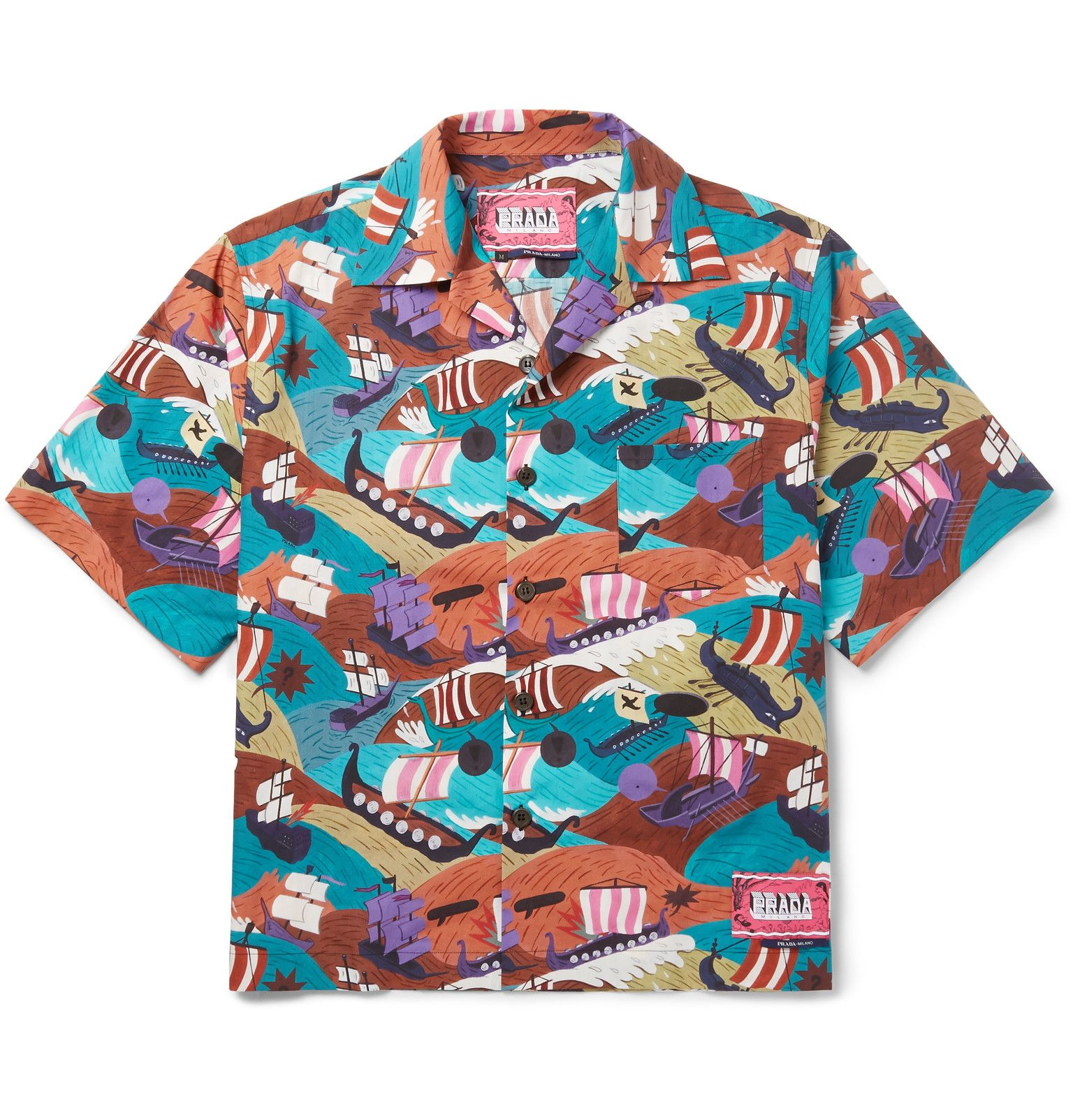 Camp-Collar Printed Cotton Shirt by Prada