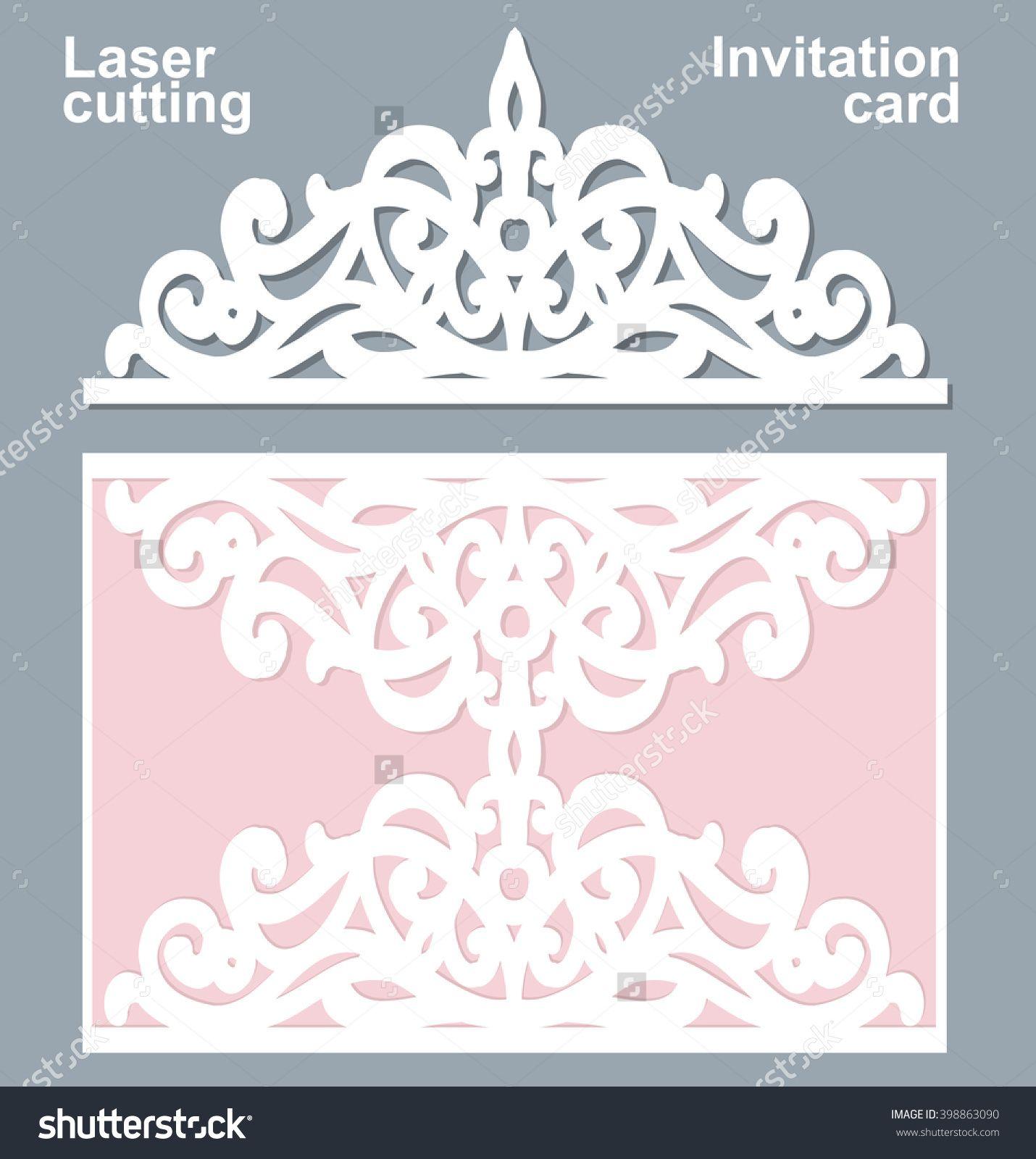 Vector die laser cut wedding card template. Wedding invitation card ...