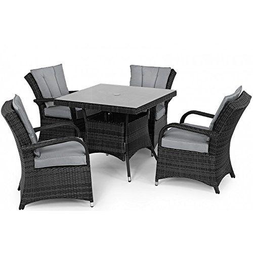 tyler rattan garden furniture grey 4 seater square table set