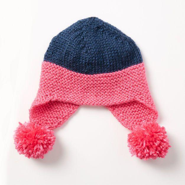 Caron Baby Earflap Hat | Baby knitting patterns