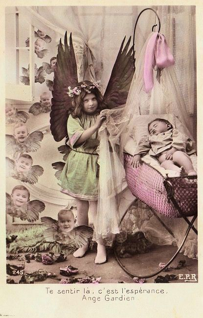 edwardian guardian angel postcard
