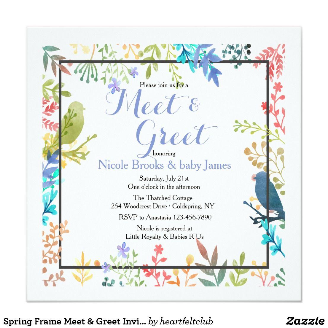 Spring Frame Meet & Greet Invitation | Zazzle.com | Invitations, Custom  baby shower invitations, Invitation template