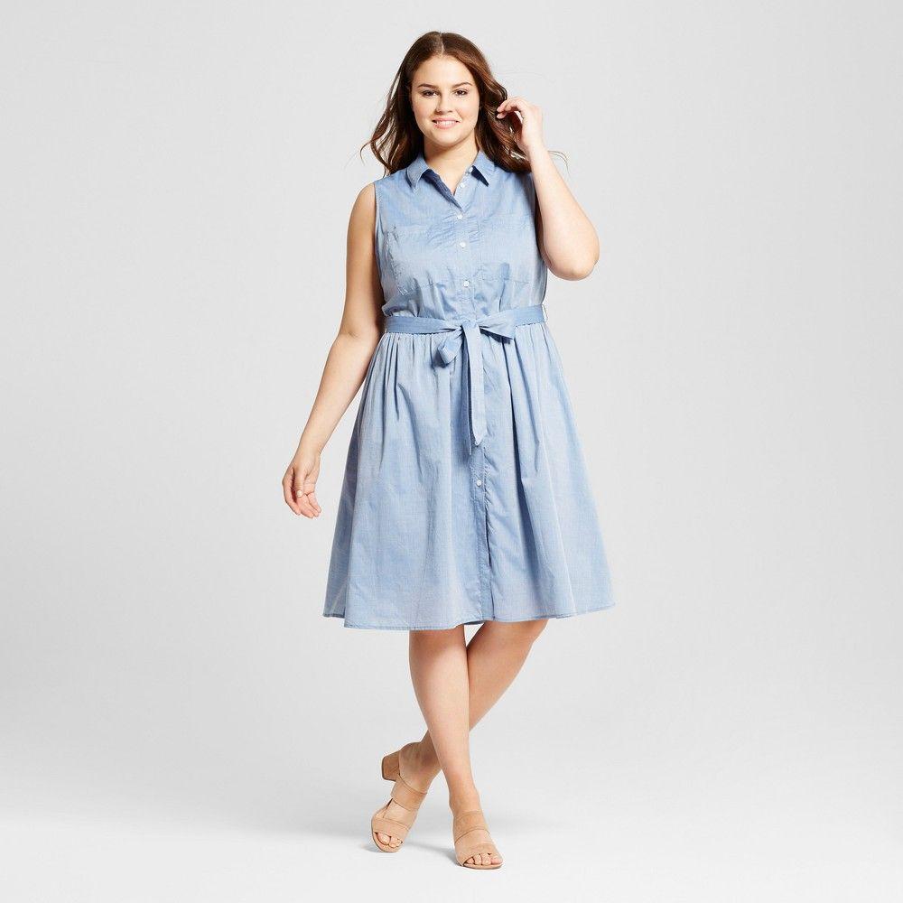Who What Wear Womens Plus Size Sleeveless Button Up Shirt Dress