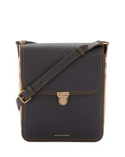 Burberry Bridle Men s House Check   Leather Medium Satchel Bag ... 567df494814d5