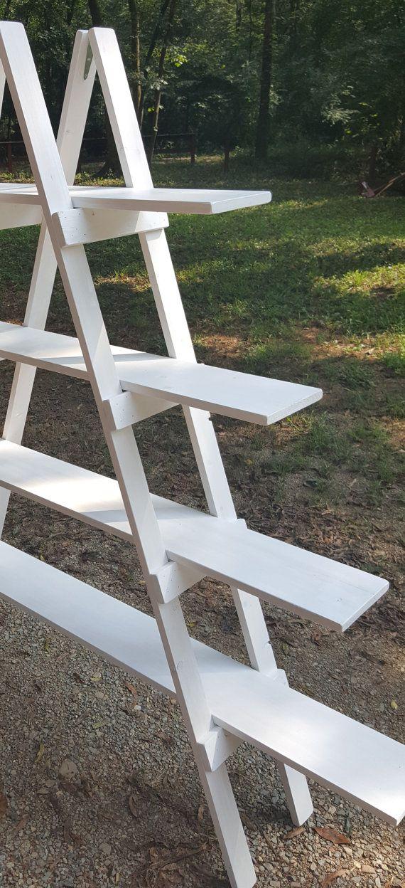 Ladder Shelf 4 Ft Wooden Ladder Craft Fair Display Craft Ladder Wedding Wedding Favour Displays Wooden Ladder