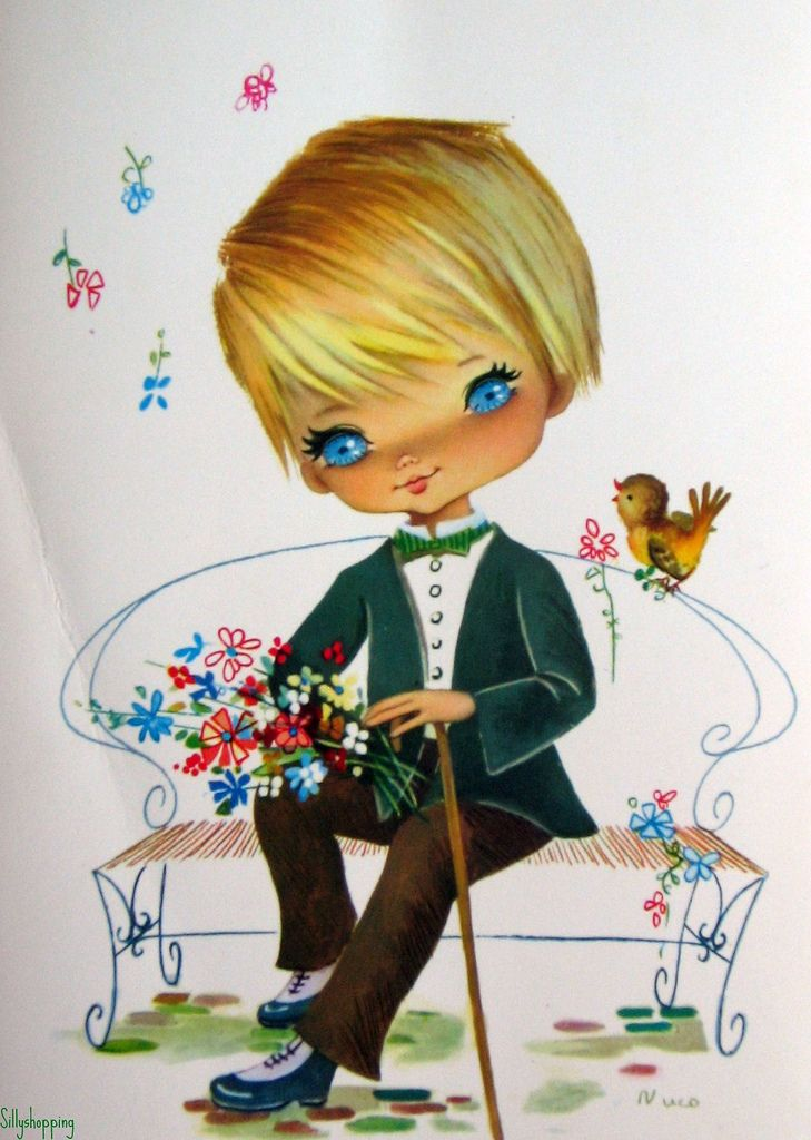 Vintage Big Eyed Boy Postcard by Nuco | by Sillyshopping