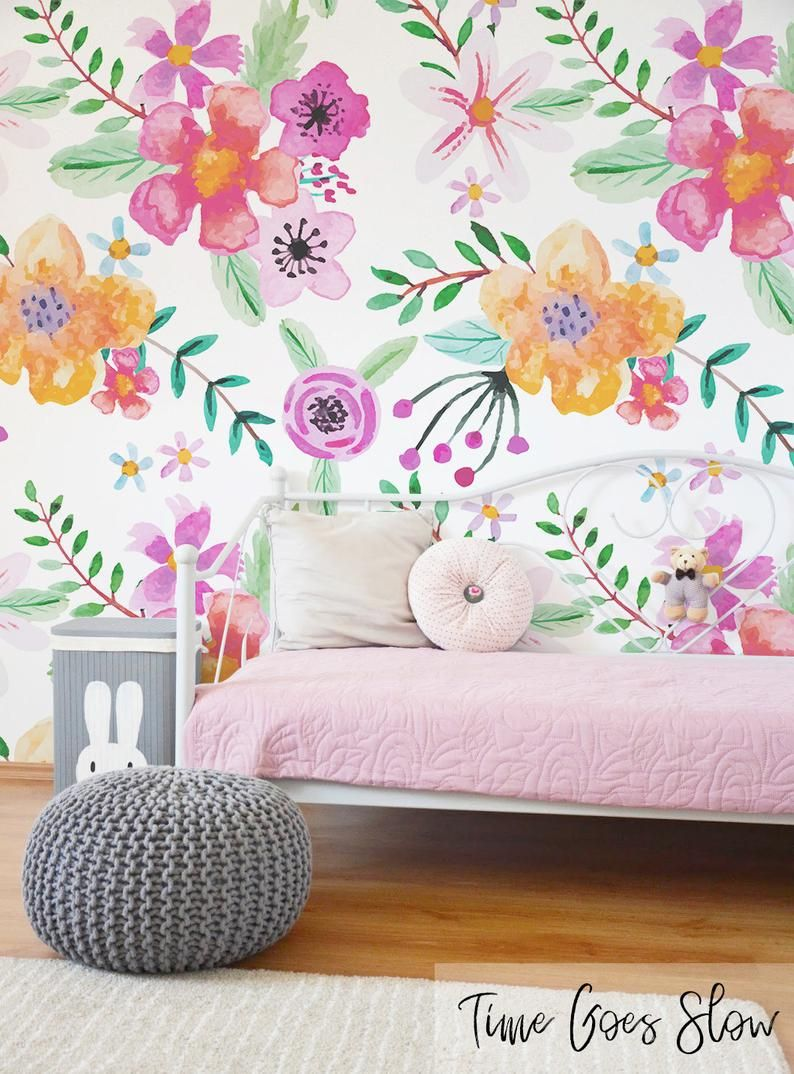 Alternative Floral Removable Wallpaper Colorful