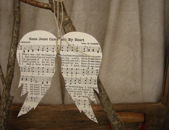 vintage sheet music angel wing ornaments