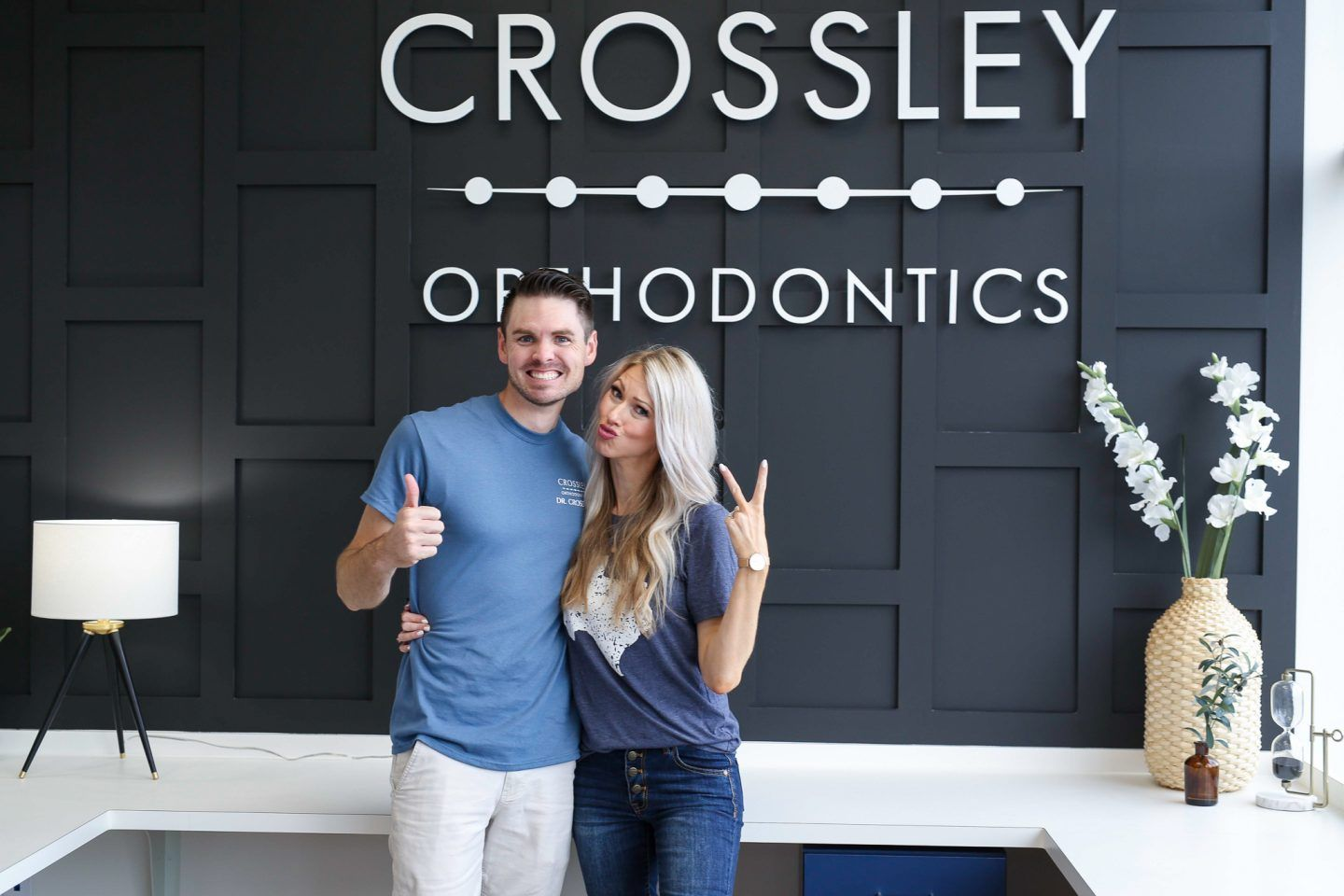 Crossley Orthodontic Office Black Accent Wall In Reception Office Janenecrossley Dental Office Design Orthodontic Office Dental Office Decor