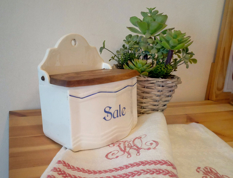 Lavello Cucina In Porcellana salt box with lid, antique kitchen salt holder in italian