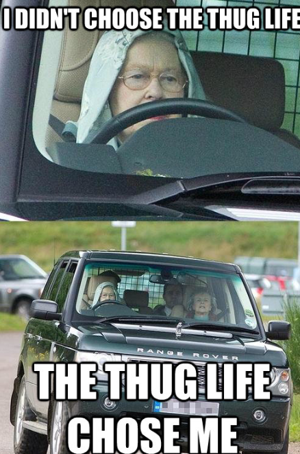 YES THIS IS THE QUEEN OF ENGLAND IN A HOODIE DRIVING RANGE ROVER